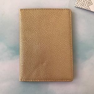 Lodis Gold Pebbled Texture Leather Passport Cover